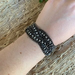 Jewelry - Braided black and rhinestone bracelet
